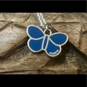 Coach Blue Butterfly .925 Sterling Silver Necklace